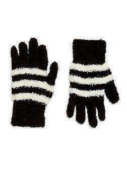 Fuzzy Knit Gloves - BLACK/WHITE - 3121067442700