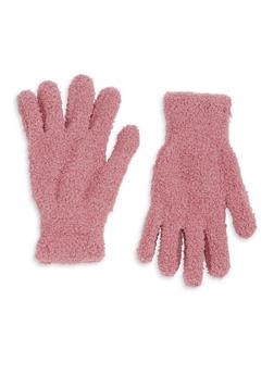 Fuzzy Knit Gloves - MAUVE - 3121067442700