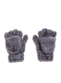 Fuzzy Convertible Mittens - GREY - 3121067442703