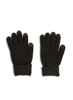 Waffle Knit Gloves - BLACK - 3121067442704