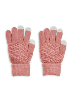 Waffle Knit Gloves - MAUVE - 3121067442704