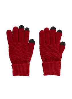 Waffle Knit Gloves - BURGUNDY - 3121067442704