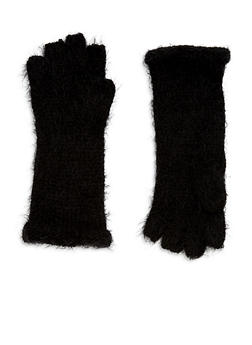 Fingerless Soft Knit Gloves - BLACK - 3121067442706