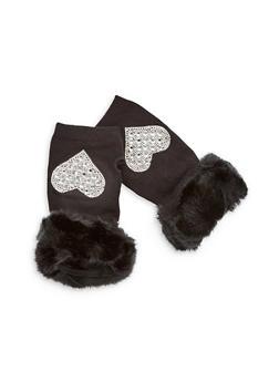 Rhinestone Heart Fingerless Gloves with Faux Fur Cuff - 3121067442723