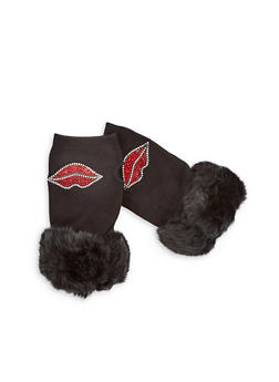 Rhinestone Lips Fingerless Gloves with Faux Fur Cuff - 3121067442724