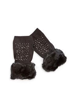 Studded Fingerless Gloves with Faux Fur Cuff - 3121067442726