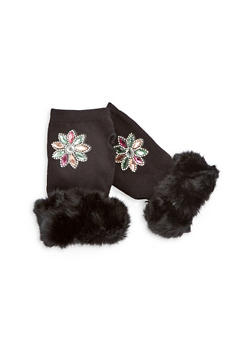 Jeweled Fingerless Gloves with Faux Fur Cuff - 3121067442727