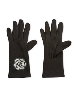 Rhinestone Rose Patch Gloves - 3121067442728