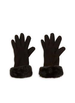 Faux Fur Cuffed Gloves - 3121067442731