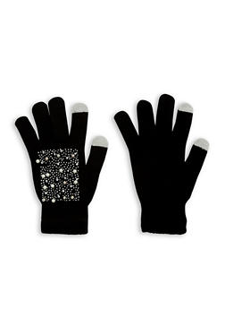 Faux Pearl Studded Gloves - BLACK - 3121067444272