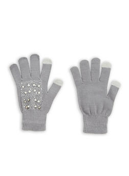 Faux Pearl Studded Gloves - 3121067444272
