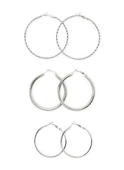 Set of 3 Assorted Glitter and Twisted Hoop Earrings - 3122003200233
