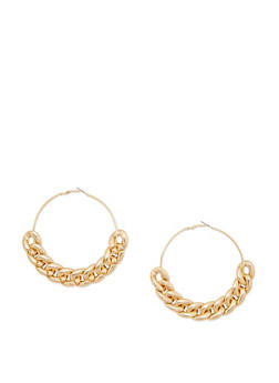 Large Chain Hoop Earrings - 3122018431010