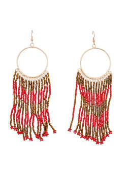 Beaded Hoop Drop Earrings - 3122018433715