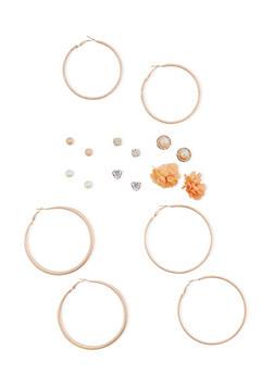 Set of 9 Multi Textured Hoop and Stud Earrings - 3122035150395