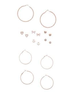 9 Piece Assorted Stud and Hoop Earring Set - 3122035152357