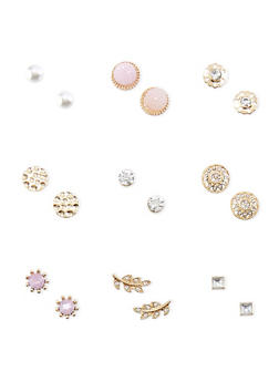 Set of 9 Rhinestone and Pearl Stud Earrings - 3122035152410