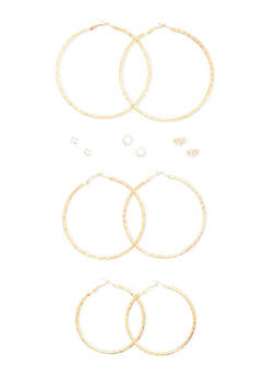 Set of 6 Hoop and Rhinestone Stud Earrings - 3122035152439