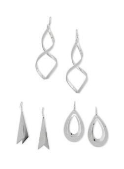 Three Glitter Earrings Set - 3122035152481