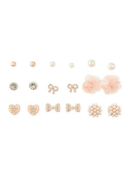 Pearl and Rhinestone Stud Earrings Set - 3122035152696
