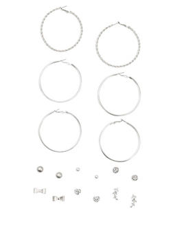 9 Piece Textured Stud and Hoop Earrings Set - 3122035152806