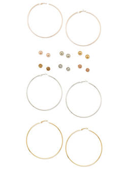 Set of 9 Solid Hoop and Ball Stud Earrings - 3122035152811