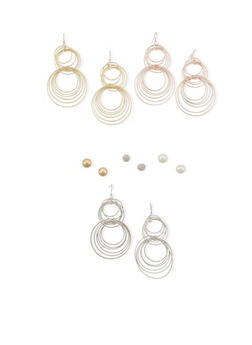 Set of 6 Assorted French Wire and Stud Earrings - 3122035152817