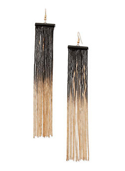 Dip Dye Chain Fringe French Wire Earrings - 3122035153755