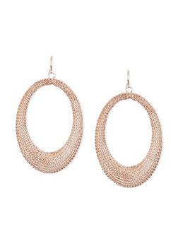 Mesh Oval Hoop French Wire Earrings - 3122035154553