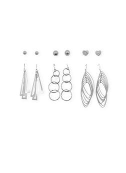 Set of 6 Assorted Stud and Dangling Earrings - 3122035155033