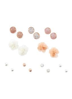 Set of 9 Assorted Flower and Rhinestone Stud Earrings - 3122035155678