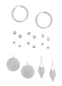 Set of 9 Hoop Stud and Dangling Earrings - 3122035155974