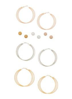 Set of 6 Multi Textured Hoop and Stud Earrings - 3122035156913