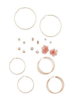 Set of 9 Multi Textured Hoop and Assorted Stud Earrings - 3122035157047