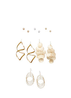 6 Piece Fish Hook and Stud Earrings Set - 3122035159174