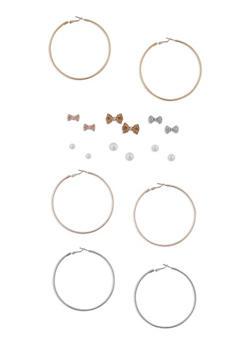 Set of 9 Hoop and Stud Earrings - 3122035159250