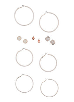 Set of 6 Textured Hoop and Stud Earring Set - 3122035159324