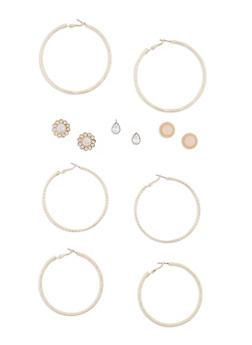 Set of 6 Textured Hoop and Stud Earring Set - 3122035159324