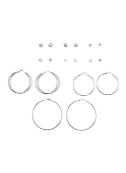 Set of 9 Assorted Hoop and Rhinestone Stud Earrings - 3122035159854