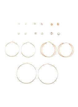 Set of 9 Assorted Hoop and Rhinestone Stud Earrings - 3122035159854