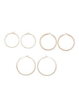 Set of 3 Multi Textured Hoop Earrings - 3122057690221