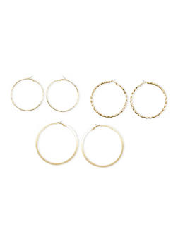 Set of 3 Multi Textured Hoop Earrings - 3122057690221