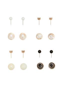 4 Piece Reversible Double Sided Stud Earrings - 3122057690826
