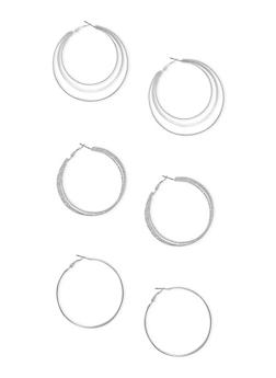 Set of 3 Multi Layered Hoop Earrings - 3122057691251