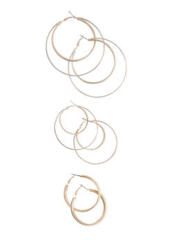Set of 3 Assorted Size Layered Hoop Earrings with Glitter - 3122057691732