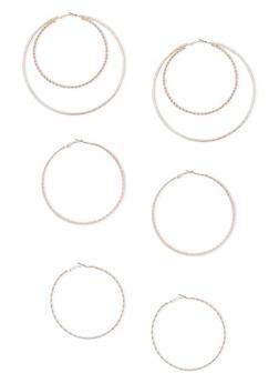 Multi Textured Hoop Earring Trio - 3122057692285