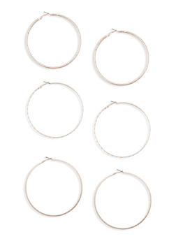 Large Hoop Earring Trio - 3122057692287