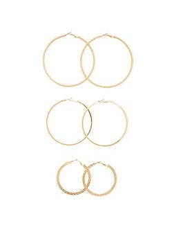 Trio of Textured Hoop Earrings - 3122057692371