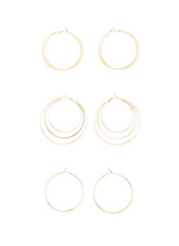 Set of 3 Layered Hoop Earrings with Glitter - 3122057692515