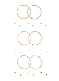 Set of 12 Hoop and Small Assorted Stud Earrings - 3122057693348
